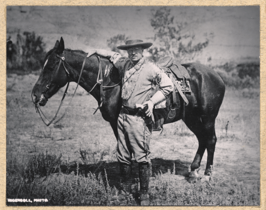 Theodore Roosevelt in the buckskin outfit he ordered from Mrs. Maddox, a hearty western woman in the Badlands.